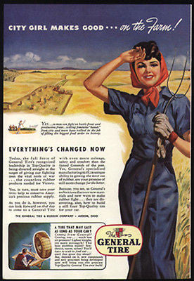 City Girl Works on the Farm with Pitchfork General Tire War Effort 1943 Ad - Paperink Graphics