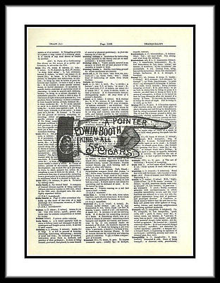 Pointing Hand Advertising Sign 5 cent Cigars Dictionary Art Print fun018