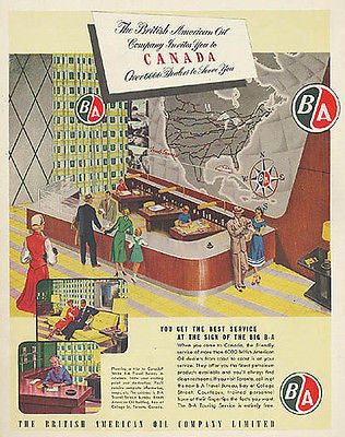 British American Oil Logo Travel Canada MAP 1952 AD - Paperink Graphics