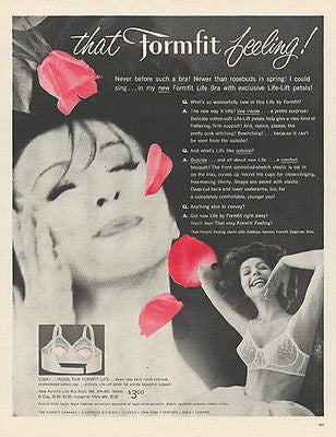 Bra Lingerie Ad Petals for Formfit Feeling 1960
