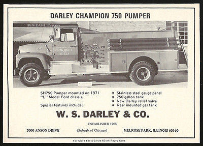 Darley Champion 750 Pumper Fire Truck on 1971 L Model Ford Chassis Photo 1972 Ad