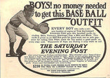 1905 AD Baseball Outfit Mitt Mask Offer Boys Selling Saturday Evening Post