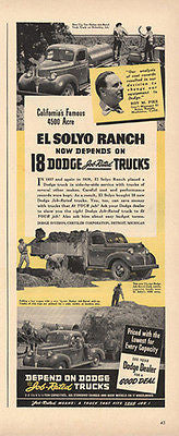 Dodge Trucks Pickup Tank Cargo 1940 Ad El Solyo Ranch Modesto CA - Paperink Graphics