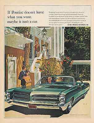 Pontiac Blue Bonneville Art Fitzpatrick and Van Kaufman AF VK  Print 1966 Ad - Paperink Graphics