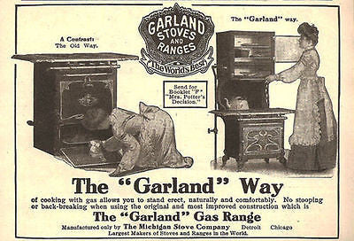 Garland Gas Stoves Ranges Victorian Lady Cooks Cleans No Stooping 1905 AD