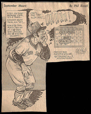 Red Sox Beat NY 3x Sports Cartoon  Newspaper Clipping 1970s