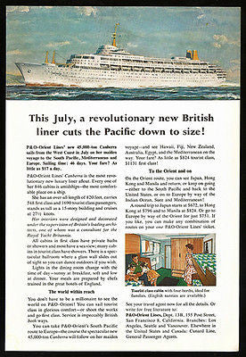 Canberra Ocean Liner Orient Lines July 1961  West Coast Maiden Voyage Print Ad - Paperink Graphics