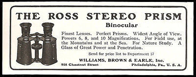 Binocular 1911 Ad Ross Stereo Prism Binocular Powers to Ten Wide Angle Photo AD