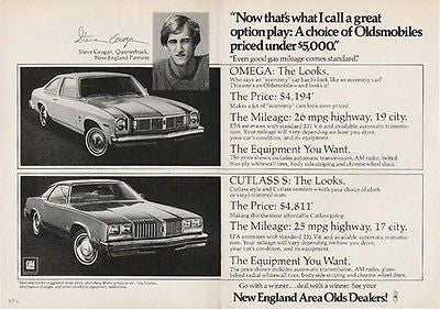 Steve Grogan Patriots Football Quarterback 2 pg 1977 AD Oldsmobile Cutlass Omega