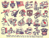 Tattoos Tat Sheet Vintage Tattoo 1940s Penny Store Tattoo Art WWII Homefront Uncle Sam Flag Eagle Military
