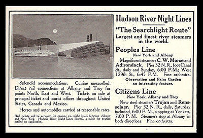 Hudson River Steamers 1911 AD Night Lines Searchlight Route Hudson River NY AD