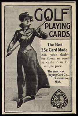Golf Cards AD American Playing Cards 1901 Small Ad Golf Western Lady Golfer - Paperink Graphics