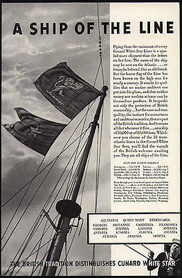 Cunard White Star Liner House Flag Ship Mainmast 1936 Photo Ad - Paperink Graphics