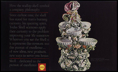 Derby Porcelain Sweetmeat 1760 Stand Shell Oil 1965 Photo Ad Gas Oil
