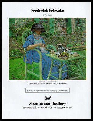 Teatime Giverny Garden Gallery Art AD 1988 Frederick Frieseke Artist Advertising