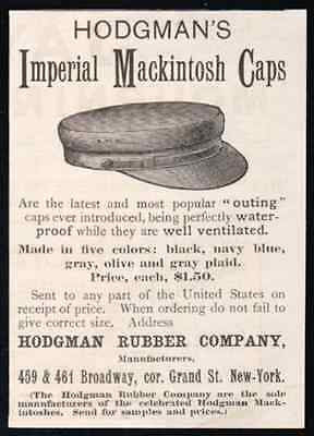 Rubber Imperial Mackintosh Caps 1891 Hat AD Hodgman NY