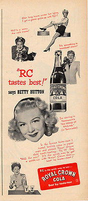 Betty Hutton Royal Crown Cola Tastes Best Photo Ad 1947 Movie Star - Paperink Graphics