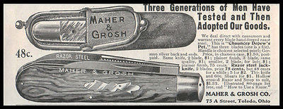 Jack Knife Ad 1905 Maher & Grosh 3 Blades German Silver Razor Steel Chamois Case