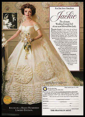 Jackie Kennedy Wedding Portrait DOLL 1998 Photo Ad - Paperink Graphics