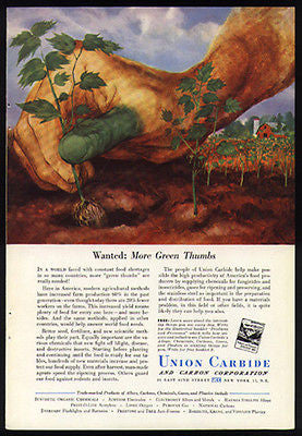 Exaggeration Green Thumb 1951 Print Ad Union Carbide Scientific Method