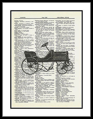Speedway Antique Toy Car Spoke Pedal Car Dictionary Art Print fun026 - Paperink Graphics