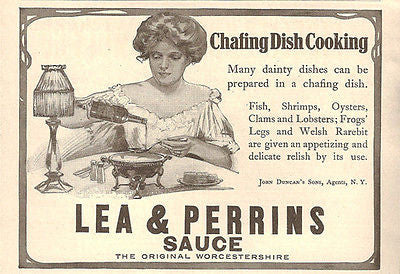 Edwardian Beauty Chafing Dish Cooking 1908 Lea & Perrins Worcestershire Sauce AD