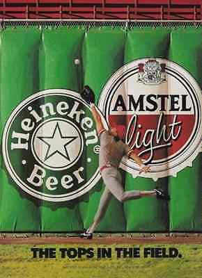Heineken Beer Amstel Light Baseball Player Stadium 1991 AD Beer