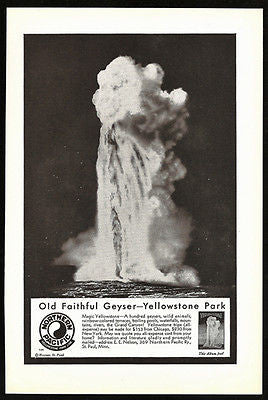 Old Faithful Geyser 1931 AD Northern Pacific Railway Yellowstone Park Line - Paperink Graphics