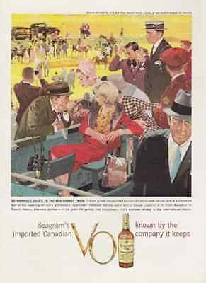 Aqueduct's Inaugural 1959 Seagram's Canadian VO Print AD Race Track Grandstand