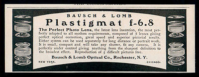 Bausch Camera Lens Lomb Plastigmat f-6.8 Photography Camera Lens 1902 Antique Ad - Paperink Graphics