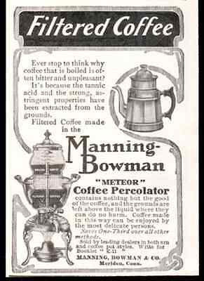 Coffee Percolator 1908 Manning Bowman Meteor Print AD