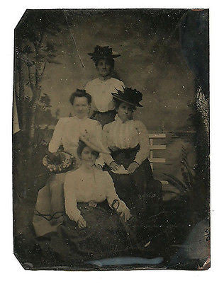 Antique Tintype Victorian Women Fashion Hats Clothing Photography Photograph