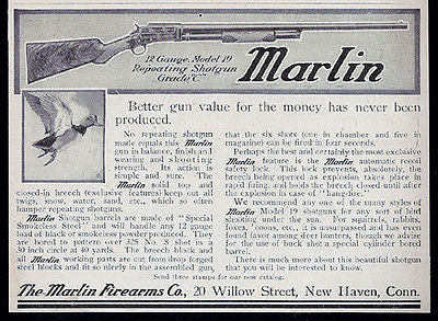 Gun Ad Marlin 1907 Antique Firearms Advertising