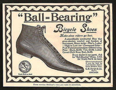 Bicycle Shoes Ball Bearing 1896 Print AD