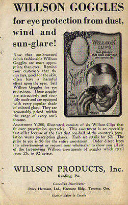 Wilson Goggles 1929 Ad Eye Protection Wilson Products Inc Reading PA STEAMPUNK