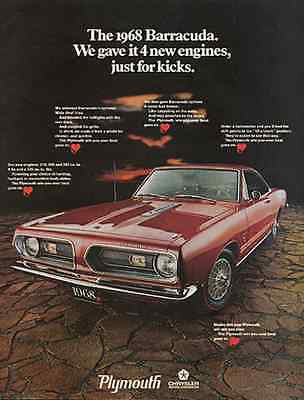 Plymouth Barracuda Muscle Car Vintage 1968 Transportation Automobile AD - Paperink Graphics