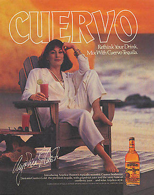 Anjelica Huston Cuervo Tequila Seabreeze 1987 Photo Ad