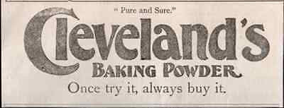 Cleveland's Baking Powder Pure and Sure 1895 Food Bakery Baking AD - Paperink Graphics