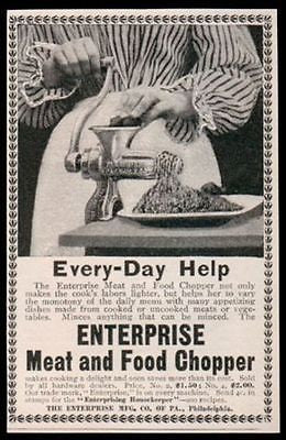 Meat and Food Chopper Grinder Enterprise 1898 Kitchen AD - Paperink Graphics