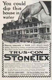 1914 Dramatic Graphics AD Giant Hand Dips House in Water StoneTex Waterproofs - Paperink Graphics