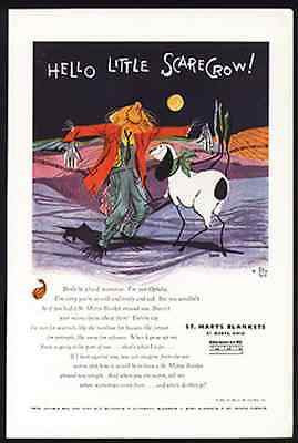 Lamb Ophelia Goat Greets Scarecrow Eness Art 1955 Animals AD St. Marys Blankets - Paperink Graphics
