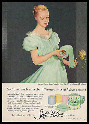 Green Filmy Lingerie Soft Weve Bath Tissue 1956 Photo Ad - Paperink Graphics