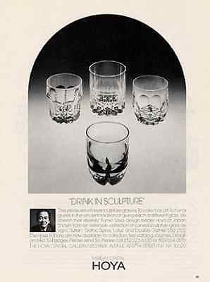 Hoya Sculpture Glasses Museum Crystal Fumio Sasa Artist 1986 Ad - Paperink Graphics
