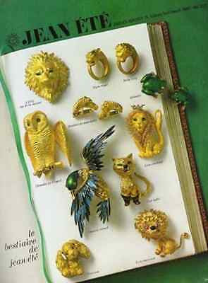 Lions Owl Cat Dog Horse Frogs Bird Jean Ete Figural Jewelry 1974 AD Paris France