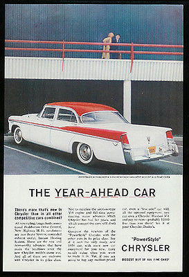 Chrysler Windsor 1956 Classic Vintage Car Ad V8 4 Door Sedan Auto Whitewalls - Paperink Graphics