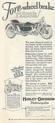 Harley-Davidson Fore-wheel Brake Motorcycle 1928 AD