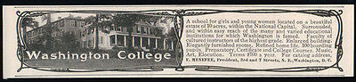 Washington College Small Education Ad 1905 School for Girls Music Art Voice