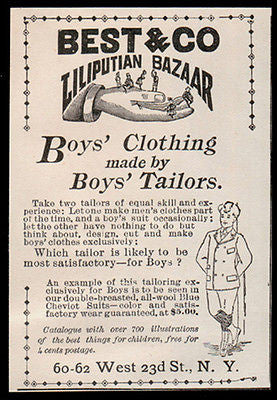Boys Clothing Ad 1896 Liliputian Bazaar Best NY Boys Tailors - Paperink Graphics