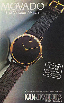 Movado Watch AD Museum Watch Kan Jewelers Aruba Curacao Jewelry 1986 Advertising