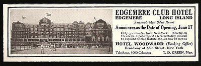 Edgemere LI 1911 NY AD Edgemere Club Hotel Long Island NY Seaside Hotel AD - Paperink Graphics